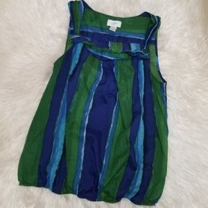 Ann Taylor Loft Cotton Blue Green Blouse med